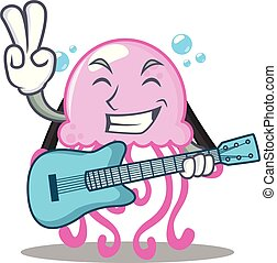 With guitar cute jellyfish character cartoon