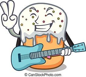 With guitar easter cake mascot cartoon