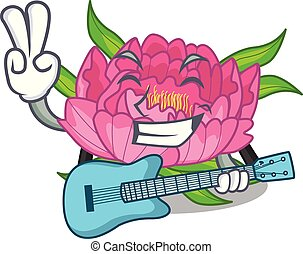 With guitar flower tree poeny in character form
