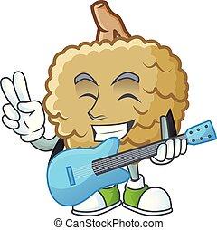 With guitar fresh marolo fruit character mascot in cartoon