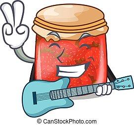 With guitar fresh tasty strawberry jam on mascot vector...
