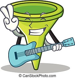 With guitar funnel character cartoon style
