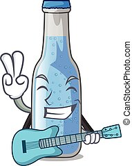 With guitar glass of soda water on character