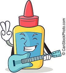 With guitar glue bottle character cartoon