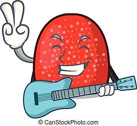 With guitar gumdrop mascot cartoon style vector illustration