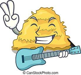 With guitar hay bale mascot cartoon vector illustration