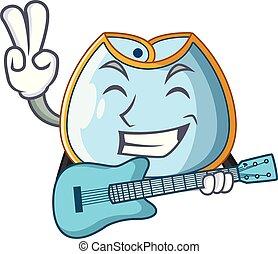 With guitar homemade baby bib of cloth cartoon