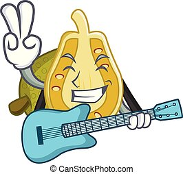 With guitar jackfruit mascot cartoon style