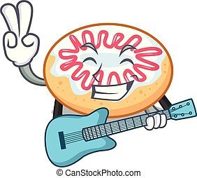 With guitar jelly donut mascot cartoon vector illustration