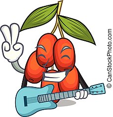 With guitar jujube fruit in the shape mascot vector illustration