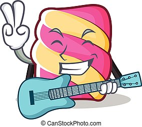 With guitar marshmallow character cartoon style
