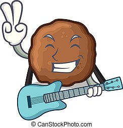 With guitar meatball mascot cartoon style