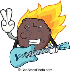 With guitar meteorite mascot cartoon style vector...