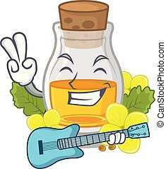 With guitar mustard oil wrapped in mascot box