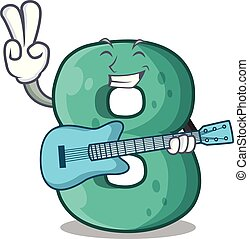 With guitar number eight made with cartoon shaped