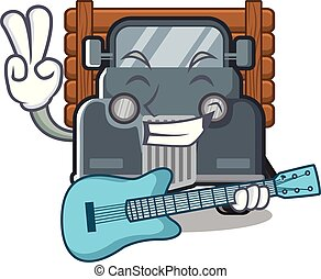 With guitar old truck in the mascot shape