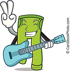 With guitar pants character cartoon style