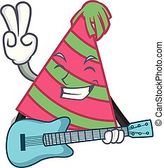 With guitar party hat mascot cartoon vector illustration