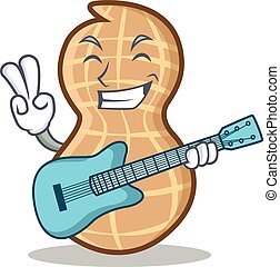 With guitar peanut character cartoon style