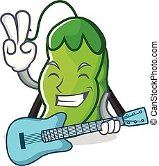 With guitar peas mascot cartoon style vector illustration