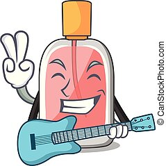 With guitar perfume bottle on the character table vector...