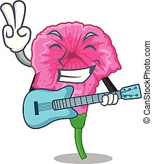 With guitar petunia flower grows in character pots vector illustration
