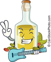 With guitar Pistachio oil in a character bottle