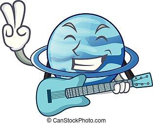 With guitar planet uranus in the cartoon form vector...