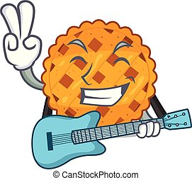 With guitar pumpkin pie isolated in the mascot vector ...