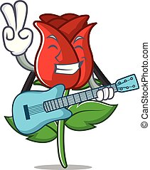 With guitar red rose mascot cartoon
