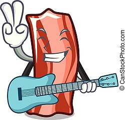With guitar ribs mascot cartoon style