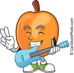 With guitar ripe apricot character mascot of cartoon