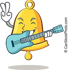 With guitar school bell character cartoon