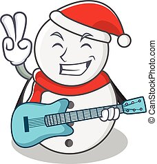 With guitar snowman character cartoon style