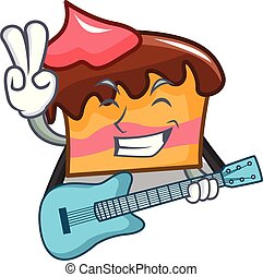 With guitar sponge cake mascot cartoon
