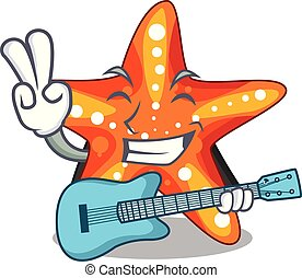 With guitar starfish isolated with in the cartoons