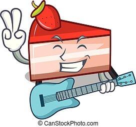 With guitar strawberry cake mascot cartoon