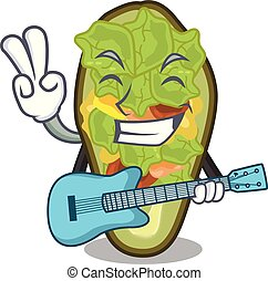 With guitar stuffed avocado on a character board