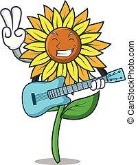 With guitar sunflower mascot cartoon style vector...