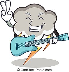 With guitar thunder cloud character cartoon