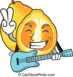 With guitar ugli fruit in the cartoon fridge vector...
