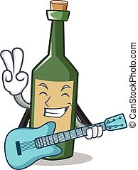 With guitar wine bottle character cartoon