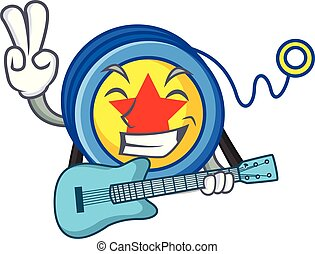 With guitar yoyo mascot cartoon style vector illustration