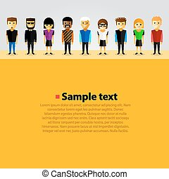 With happy cartoon people art. Vector illustration