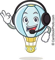 With headphone air balloon character cartoon