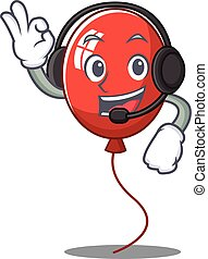 With headphone balloon character cartoon style
