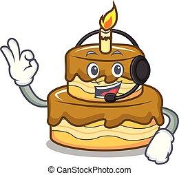 With headphone birthday cake mascot cartoon