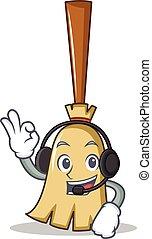 With headphone broom character cartoon style