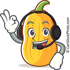 With headphone butternut squash mascot cartoon vector...