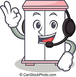 With headphone cabinet character cartoon style